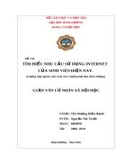 TÌM HIỂU NHU CẦU SỬ DỤNG INTERNET CỦA SINH VIÊN HIỆN NAY Trường hợp nghiên cứu Sinh viên Trường Đại Học Bình Dương