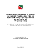 Đánh giá hiệu quả kinh tế và ảnh hưởng môi trường của việc sử dụng chế phẩm sinh học trong việc nuôi tôm sú xã Quảng Công