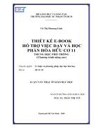 Thiết kế E Book hỗ trợ việc dạy và học phần hóa hữu cơ 11 THPT Chương trình nâng cao