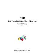 500 bài toán bất đẳng thức của tác giả Cao Minh Quang Ôn thi cao học Toán