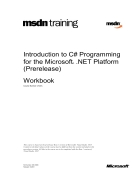 Introduction to C Programming for the Microsoft NET Platform Prerelease