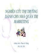 Nghiên Cứu Thị Trường dành cho nhà Quản trị Marketing